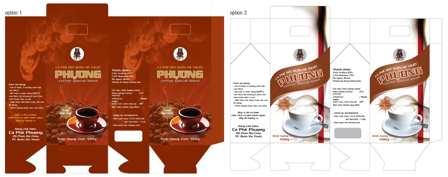 mẫu in hộp cà phê cơ bản